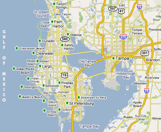 Map Of Tampa Bay Florida.Tampa Bay Florida Map Bnhspine Com